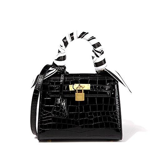PeMe Women Handbag, CrossBody Bag, Padlock Crocodile Embossed PU Tote Bag, Ladies Top Handle Shoulder Bag, Black (Bag Perfect Crocodile)