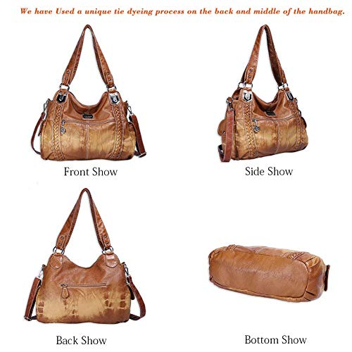 Angel Barcelo Roomy Fashion Hobo Womens Handbags Ladies Purse Satchel Shoulder Bags Tote Washed Leather Bag (Brown)
