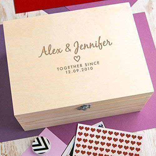 - Personalized Wedding Keepsake Box - Personalized Wedding Anniversary Gifts - Engraved Wooden Memory Box - Gift for Couples