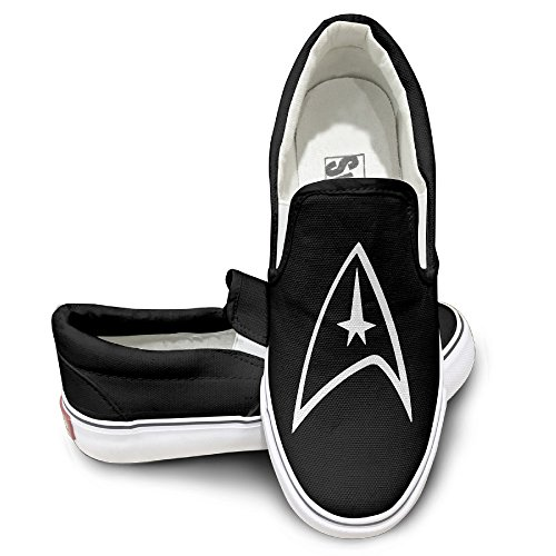 MGTER66 Star Trek Badge Logo Classic Canvas Shoes Slip On Unisex Style Color Black Size 42