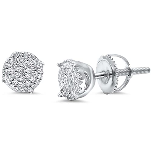e38caa4ae Amazon.com: Hip Hop Stud Earrings Men Women Unisex 925 Sterling Silver Round  Pave Ice Simulated Cubic Zirconia Screw Back 4mm: Jewelry