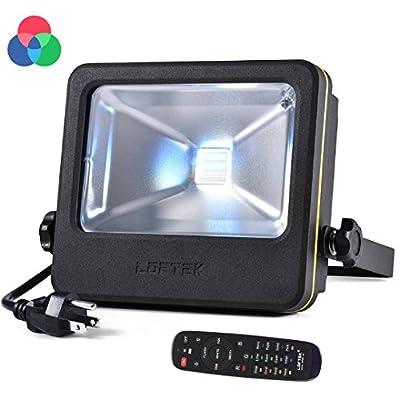 RGB Flood Light Spotlight, 50 watts LED Security Floodlight, UL listed Plug, 16 Colors Changing and 6 Levels Adjustable Brightness Outdoor Light by LOFTEK, NOVA S Series, Black