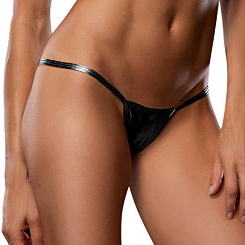 cooshional Sensual Tangas para las mujeres G-string V-string Ropa Interior Lencería Negro
