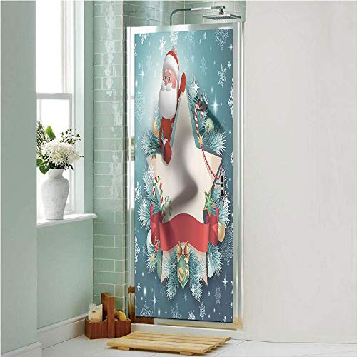 - Christmas Decorations 3D No Glue Static Decorative Privacy Window Films, Santa Star Banner Snowflakes Ribbon and Candy Cane Tree Winter Theme,24