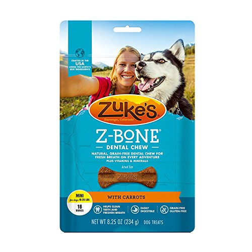 Zukes Z‑bone Clean Carrot Dental Chews, Mini Bones ‑ 18 count