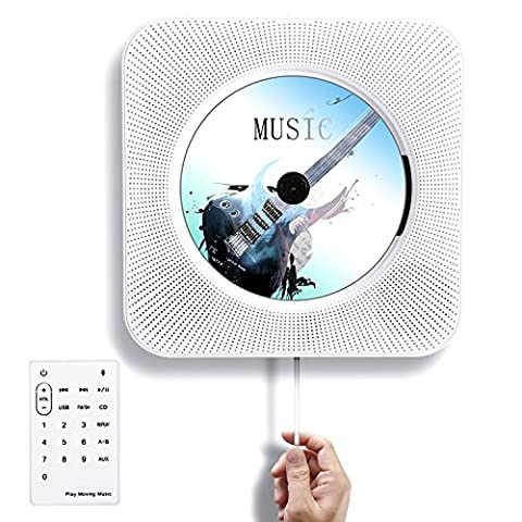 Tocode CD Player Wall Mountable Bluetooth Home Audio Speaker Innovative Pull Switch with Remote HiFi Speaker USB Drive Player and MP3 3.5mm Headphone - 5 Disc Karaoke Player