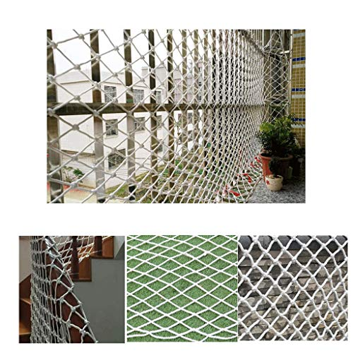 (Baby Safety Outdoor Railing Net Protective Mesh White Stair Protection Net Balcony Protective Nylon Net Child Safety Net Anti-cat Net Pet Safety Deck Shatter-resistant Net Climbing Woven Rope 50 50m)