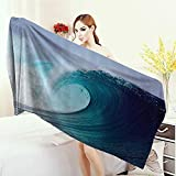 Adults Soft Absorbent Quick Dry Blanket Ocean Decor Collection Tropical Surfing Wave on a Windy Sea Indonesia Sumatra Picture Print Large Bath Towel 55''x27.5'' Blue Aqua White