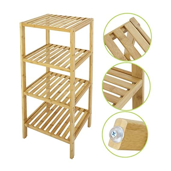 Smartxchoices 4 Tier Bamboo Bathroom Standing Shelf Organizer Rack Multifunctional Units Free Standing Towel Holder for Soap,Shampoo, Accessories(4 Tier) - Made of 100% bamboo, this Bamboo Shelf Collection is an assortment of shelves that are easy to assemble with included hardware. 4 tiers bamboo rack & storage shelf for toiletries, towels, sundries, decorative things, knick knacks, shoes, books, plants, spice and small appliances in bathroom, living room, balcony, kitchen, etc. Natural and smooth finish, rounded corners, protect your family from being scratched, especially the children. You can remove a layer for high stuff. - shelves-cabinets, bathroom-fixtures-hardware, bathroom - 51%2B56c103CL. SS570  -