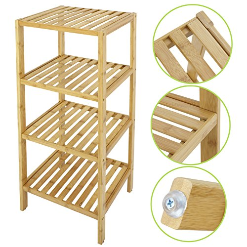 Smartxchoices Natural Bamboo Tower Free Standing Shelf Bathroom Storage Shelf Rack Multifunctional Units Storage Organizer Floor Cabinet (4 Tier) (Bathroom Bamboo Cabinet)