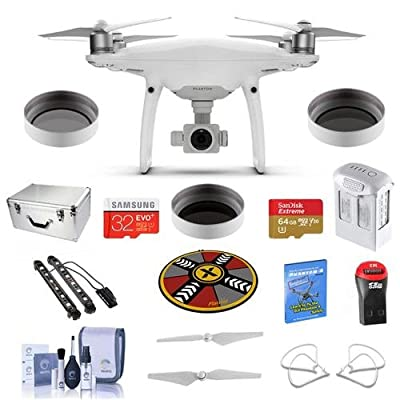 "DJI Phantom 4 Pro+ Premium Kit - Bundle With DJI Aluminum Case, 64/32GB MicroSDXC Card, Spare Battery, Quick-Release Propellers, Propeller Guard, 32"" Collapsible Pad, Polar LED Light Bars, More"