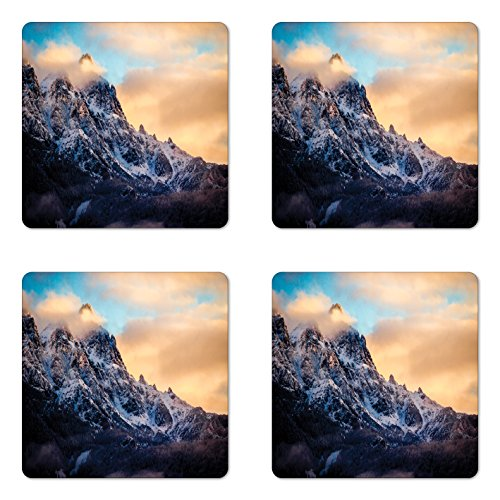 Lunarable Mountain Coaster Set of Four, Rising Sun at The Alps Snowy Scene Pine Tree Forest on Piedmont Natural Paradise, Square Hardboard Gloss Coasters for Drinks, Peach Blue