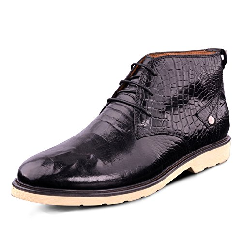 Santimon Mens Pu Crocodile En Cuir Bottines Chaussures Noir