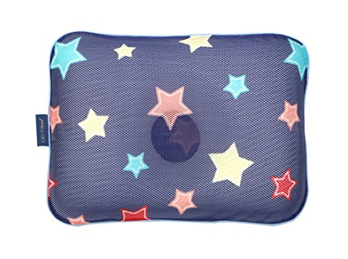 Gio Baby pillow for 6~24months - 3D air mesh pillow for prevent flat head syndrome - Navy star (M) by Gio pillow