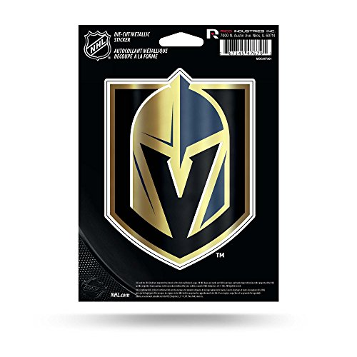 Rico Industries NHL Vegas Golden Knights Die Cut Metallic StickerDie Cut Metallic Sticker, Black, 5.75 x 7.75-inches