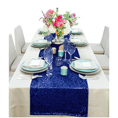 Navy Blue Bridal Shower Decorations 14x108-Inch Sequin Table Runners Navy Party Supplies -0807S