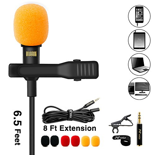 PoP voice Lavalier Lapel Microphone, Omnidirectional Condenser Mic for Apple iPhone iPad Mac Android Smartphones, Youtube, Interview, Studio, Video, Recording Mic,6 Wind Muffs+8 Ft Extension Cable by PoP voice