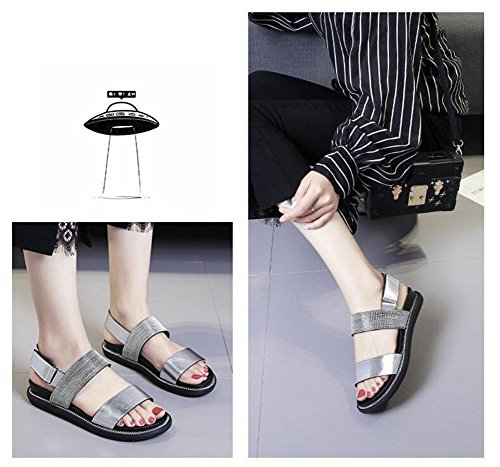 Shoes Sandals Slingback Velcro silver Flat Open Sandals Beach Metal Shoes Women Chain Toe Female 1w7qxSA