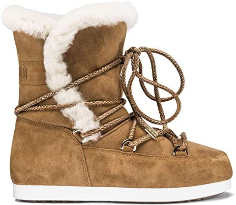 Womens Tecnica Moon Boot Far Side High Shearling Winter Faux Fur Boots - Whiskey - 8
