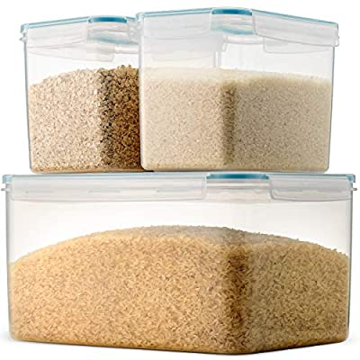 Komax Biokips Extra Large Rice Container Set | (Set of 3) Rice Storage Containers | (388-oz) Extra Large Rice Dispenser | (120-oz) Two Large Rice Containers | BPA-Free, Airtight With Locking Lids