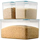 Komax Biokips Extra Large Rice Container Set   (Set of 3) Rice Storage Containers   (388-oz) Extra Large Rice Dispenser   (120-oz) Two Large Rice Containers   BPA-Free, Airtight with Locking Lids