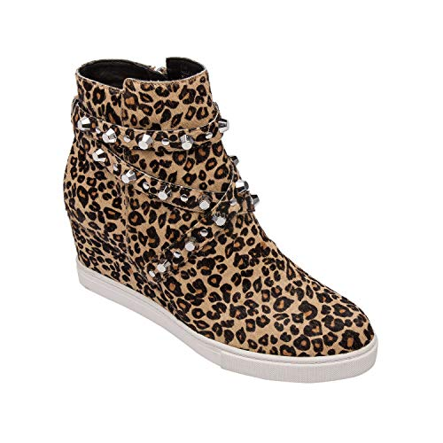 Heel Inspired Leopard Shoes Womens (Linea Paolo Fallon | Stud Adorned Platform Wedge Leather Moto Bootie Comfortable Sneaker Inspired Heel Sand/Black Leopard Print Hair Calf 6.5M)