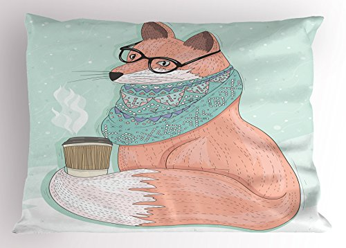 (Ambesonne Animal Decor Pillow Sham, Cute Hipster Fox with Glasses and Scarf Drinking Coffee Hippie Illustration, Decorative Standard Size Printed Pillowcase, 26 X 20 inches, Coral Mint)