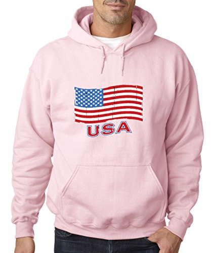 - Trendy USA 719 - Adult Hoodie USA Flag Distressed Old Glory United States Unisex Pullover Sweatshirt Small Light Pink