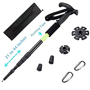 BAOCHI Walking Stick Trekking Pole Hiking Mountaineering Telescoping Ultra Strong Alpenstocks Anti ShockTrail With Reflective Tape(1 Piece)Black
