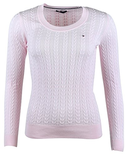 Tommy Hilfiger Womens Scoop Neck Cable Knit Sweater (M, Light Pink)