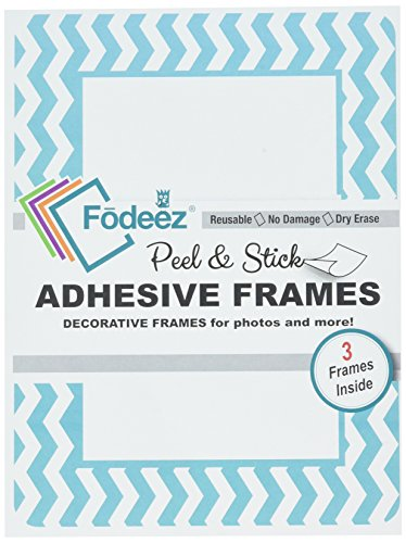 Fodeez Frames - Juego de marcos adhesivos reutilizables para frigoríficos no magnéticos, madera maciza, paredes lisas, etc,...