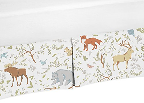 Toile Bedskirt (Blue, Grey and White Animal Print Crib Bed Skirt Dust Ruffle for Woodland Toile Boys or Girls Baby Bedding)