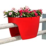 Greenbo XL Deck Rail Planter Box with Drainage trays, 24-Inch, Color Red - Set of 6