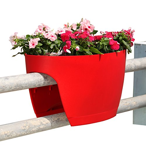 Greenbo XL Deck Rail Planter Box with Drainage trays, 24-Inch, Color Red - Set of 2 by Greenbo