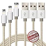 Zcen 3Pack 3Ft 6Ft 10Ft Nylon Braided 8 Pin Cable Charger Cord Compatible with Phone X, 8,7,6,5 - Gold Silver