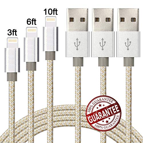 Zcen 3Pack 3Ft 6Ft 10Ft Nylon Braided 8 Pin Cable Charger Cord Compatible with Phone X, 8,7,6,5 - Gold Silver by Zcen