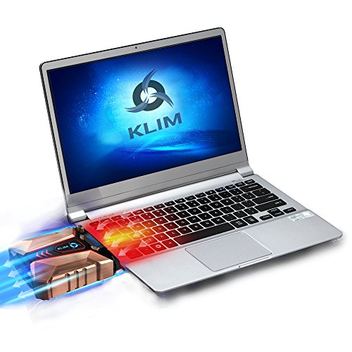 KLIM Cool + Laptop cooler Laptop in metal - The most powerful - Air vacum USB for immediate cooling - Cooling pad to solve overheating