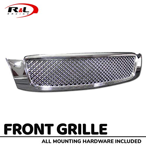 R&L Racing Chrome Front Grill Sport Mesh Hood Bumper Grille Guard Cover 2000-2005 for Cadillac Deville