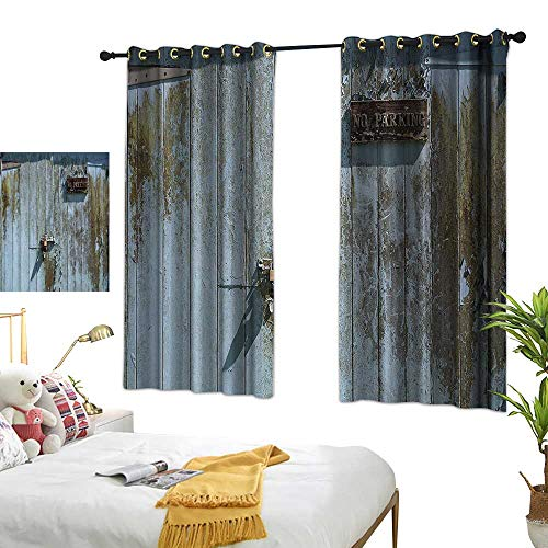 Warm Family Decor Curtains Industrial Decor Collection Grungy Old Rotting Garage Door with No Parking Sign Rusty Locked Aged Wood Image Noise Reducing 55
