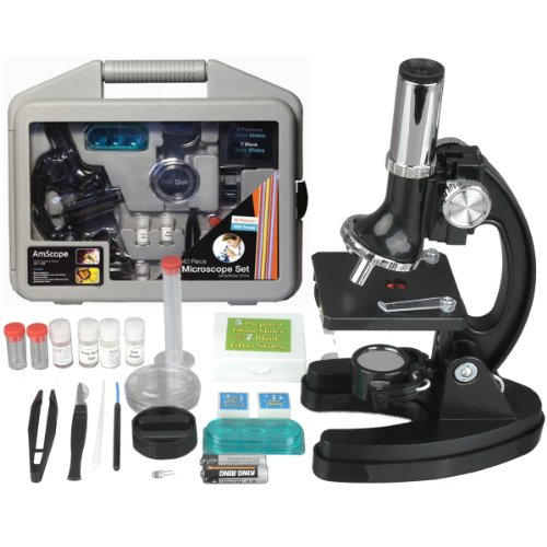 AMSCOPE-KIDS M30-ABS-KT51 120x-1200x 6-Powers Metal Frame & Base with 52-pc Accessories, Among...