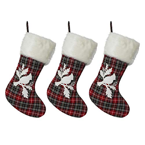 Red Plaid Christmas Stockings - 3-Pack of 20 inch Holiday Stockings with Festive Cardinal Print and Faux Fur Cuff (Of Tradition Christmas Stockings)