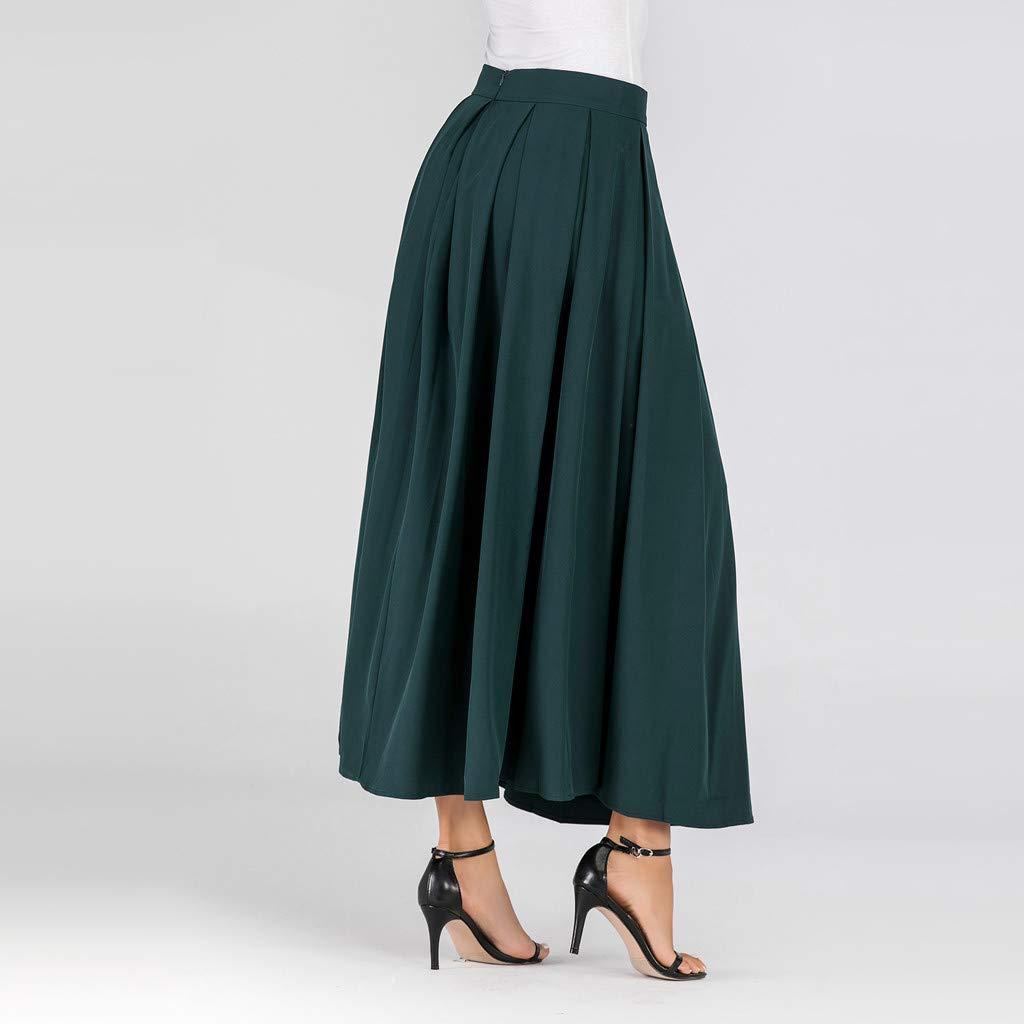 beautyjourney Falda Larga Elegante de una l/ínea de Mujer Falda Plisada Larga de Color Liso Falda oscilante Rockabilly de Cintura Alta de oto/ño Invierno