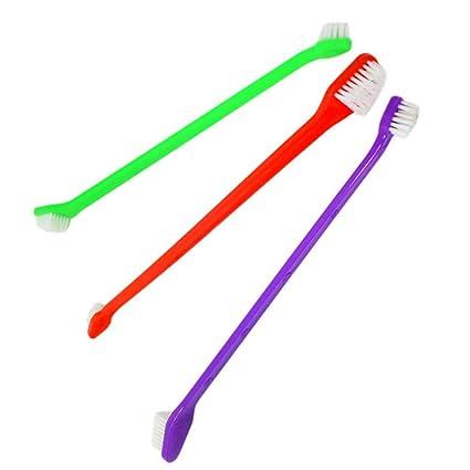 Ogquaton Cepillo de Dientes de Doble Cabeza para Mascotas, cepillos de higiene Dental para Mascotas