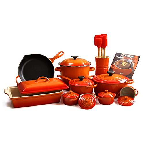 Le Creuset Flame 24 Piece Gourmet Cookware Set with 4.5 Quart French Oven