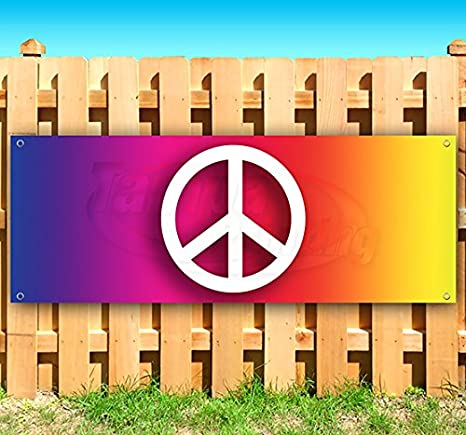 Peace Sign 13 oz Heavy Duty Vinyl Banner Sign with Metal Grommets Advertising Many Sizes Available Flag, Store New