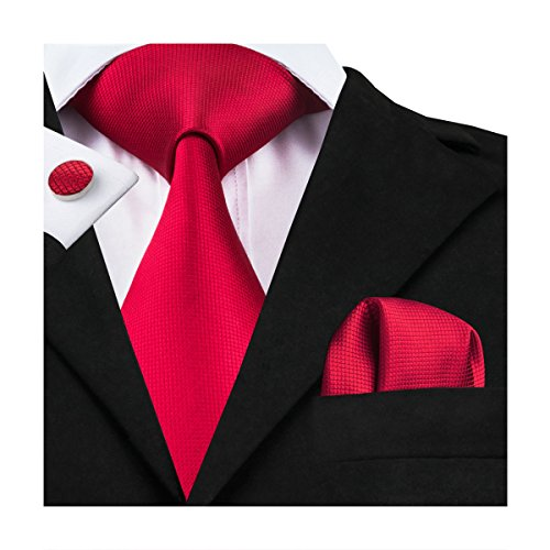 Hi-Tie Solid Tie Pocket Square Cufflinks Set Wedding Ties Gift Box - http://coolthings.us