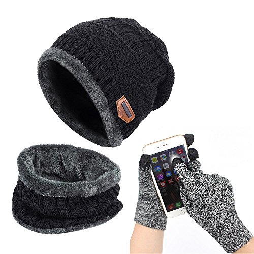 Affei Winter Beanie Hat Scarf Set Warm Knit Hat Thick Knit Skull Cap Touch Screen Glove Unisex Black