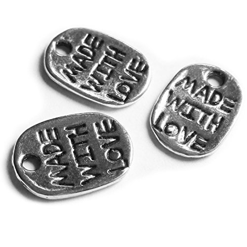 Heather's cf 216 Pieces Silver Tone Made with Love Elliptical rectangle Beads DIY Charms Pendants 11X8mm