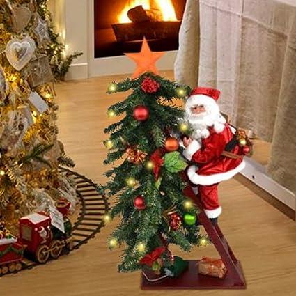 Immagini Di Natale Con Babbo Natale.Bakaji Albero Di Natale Luminoso 15 Led Giallo Con Babbo