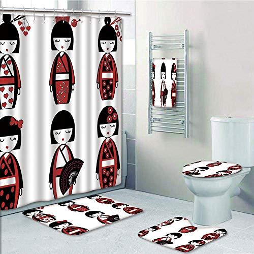 Bathroom 5 Piece Set shower curtain 3d print Multi Style,Girls,Unique Asian Geisha Dolls in Folkloric Costumes Outfits Hair Sticks Kimono Art Image,Black Red,Bath Mat,Bathroom Carpet Rug,Non-Slip,Bath for $<!--$96.88-->
